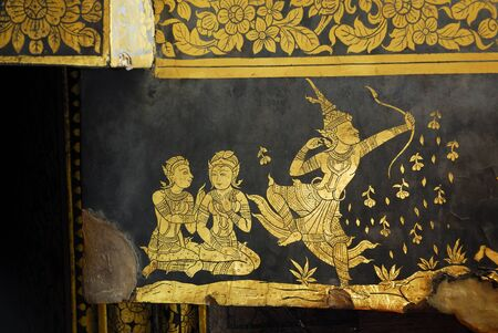 Traditional Thai style church wall painting