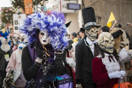 KAWASAKI,JAPAN - OCTOBER 27: The spectacular costumed attendees in the most annual amazing Halloween parade in Japan with 3000 attendees on October 27,2013 in Kawasaki city.