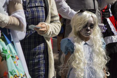 KAWASAKI,JAPAN - OCTOBER 27:An attendee in the most annual amazing Halloween parade in Japan with 3000 attendees on October 27,2013 in Kawasaki city.