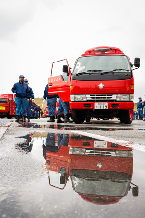 Kanagawa, Japan - January 5  The rescue car in the New Year
