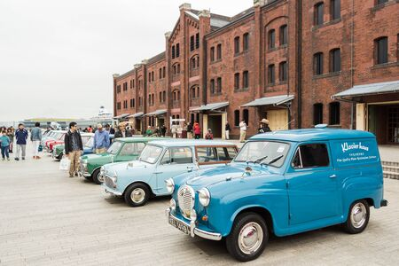 Yokohama Kanagawa, Japan - November 9  A row of vintage cars in Yokohama Historic Car Day 2013 at Yokohama Red Brick Warehouse on November 9, 2013 in Kanagawa, Japan  Editorial