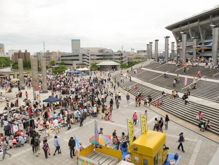 Yokohama, Japan - May 19, 2013  Shoppers come to flea market at Nissan Stadium  It is the monthly flea market in Shin-Yokohama