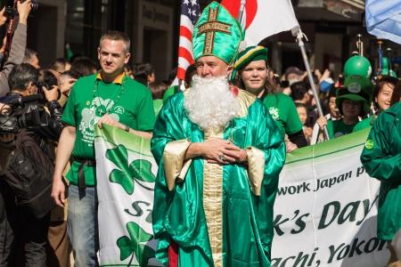 patrik: Yokohama, Japan - March 16, 2013  A man in St  Patrik costume in the parade for St  Patrick Editorial