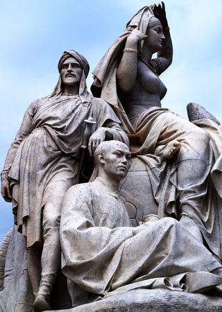 Statues of the Prince Albert Memorial Monument in Hyde Park, London. photo