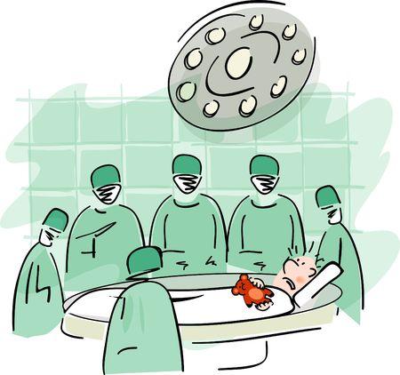 hopital cartoon: Patient sur la table dop�ration Banque d'images