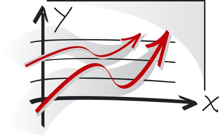 rise to the top: Two red graphs of success Stock Photo