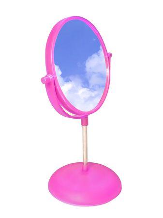 self conceit: bathroom mirror and the sky