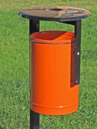 orange trash can photo