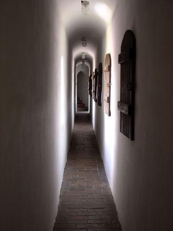 passageway: narrow passageway in the old castle