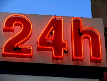 twenty: neon twenty four hours Stock Photo