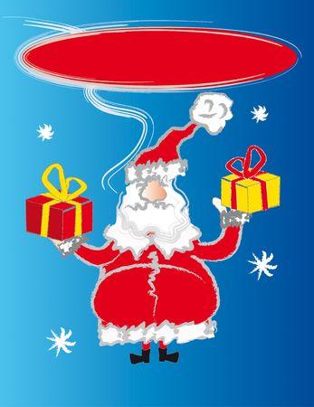santa claus talking - presents and stars photo