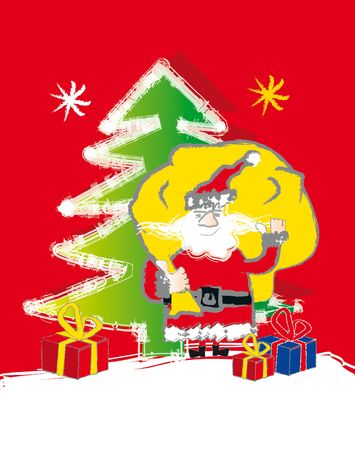 santa claus - presents, christmas tree and stars photo