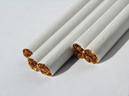 unhealthiness: few cigarettes ready to smoke on the white background