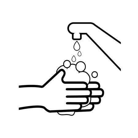 Wash your hands or safe hand washing vector symbol.  イラスト・ベクター素材