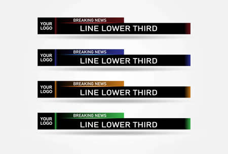 Lower Third TV News Bars Set Vector. News Lower Thirds pack. TV News Bars Set Vector. Vettoriali