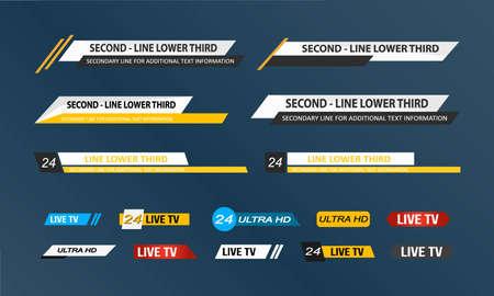 Lower Third TV News Bars Set Vector.