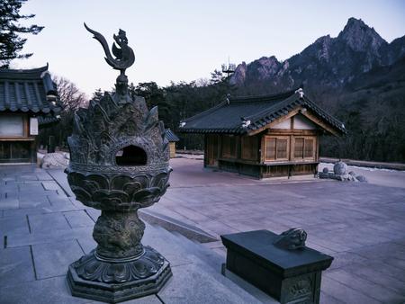 Asian houses in Sinheungsa Temple. Seoraksan National Park. South Korea.