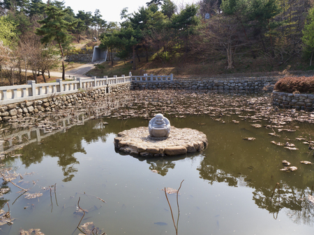 The small lake in Naksansa temple. Yangyang city, South Korea