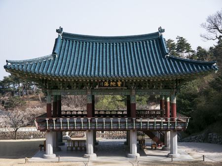 Traditional korean arbor in Naksansa temple, South Korea
