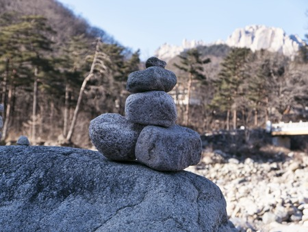 Balance stones standing on top of each other in mountains Seoraksan, Seoraksan