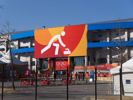 Guangneung city  South Korea - February 2018: Curling Arena at the Olympic Games 2018 Redactioneel