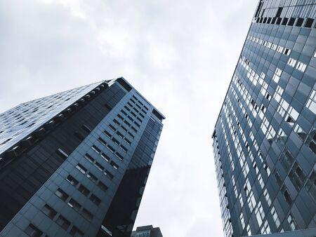 Big buildings in Kharkov city, Ukraine. High tech architecture.Bottom view
