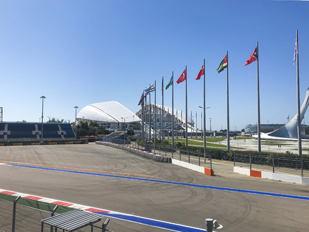 SochiRussia - August 2019: Formula 1 track in Olympic Park