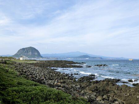View to Sanbangsan Mountain from the coast of Jeju island. South Korea