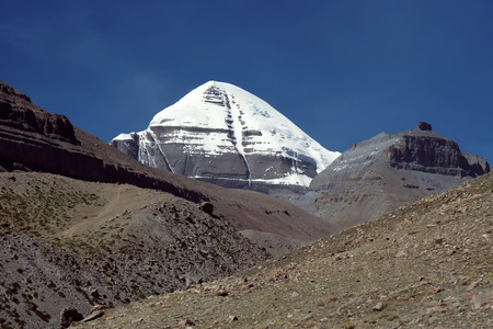 jainism: The South Face of Sacred Mount Kailash in Western Tibet.