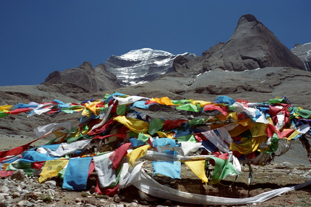 jainism: he West Face of sacred Mount Kailash in Western Tibet. Stock Photo