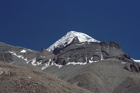 North-Western rib of sacred Mount Kailash in Western Tibet. Stock Photo