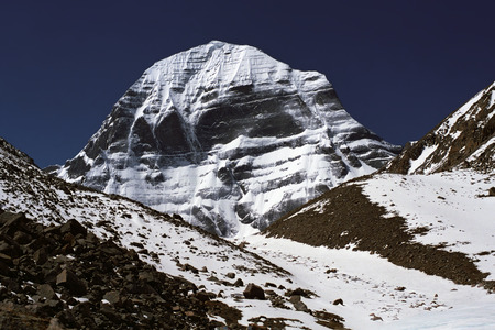 The North Face of the sacred Mount Kailash in Western Tibet.