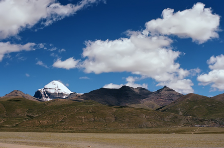 jainism: View from the road in the valley to sacred Mount Kailash (6714 m) in Western Tibet.