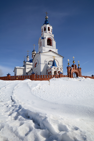 Russian Orthodox Church Dormition of the Theotokos was founded in 1833 year in Novoutkinsk township, Sverdlovsk region, Russia.