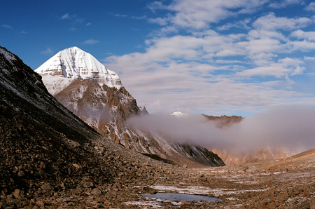 Morning view to the East Face and North-Eastern rib of sacred Mount Kailash in Western Tibet.