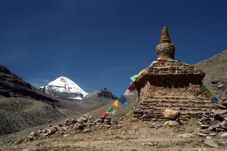 jainism: South Face of Mount Kailash in Western Tibet and ritual Buddhist structure - Stupa.