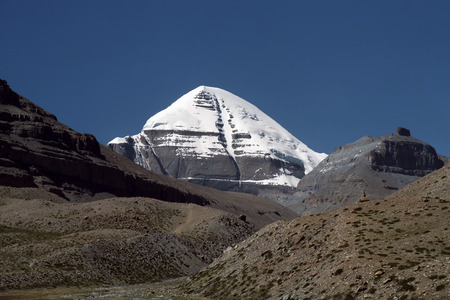 jainism: South Face of Mount Kailash in Western Tibet.