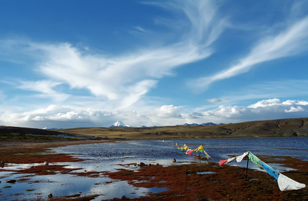 jainism: On the shore of sacred Lake Manasarovar (4557m above sea level) in Western Tibet.