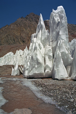 Glacier ice peaks on the slopes of Mt. Aconcagua - the highest mountain of Andes, Argentina.