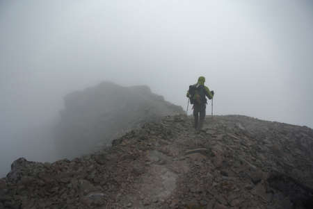 drop off: The knifes edge, a wild hiking trail in washington with thousand foot drop off on either side