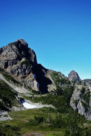 pct: rocky mountain range with snow and granite Stock Photo