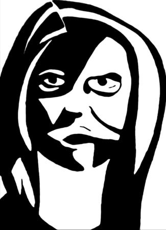 intense: Donna con gli occhi intensi in bianco e nero