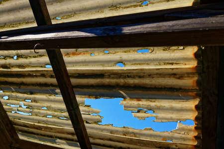 Storm damage to a corrugated plastic roof Reklamní fotografie