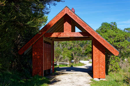 A Maori gate at the entrance or exit to New Zealand's Abel Tasman National Park