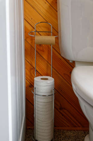 A toilet roll holder stands between the toilet and cabinet, it has run out of paper