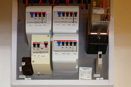 A switch board installed in a New Zealand home with residual current devices