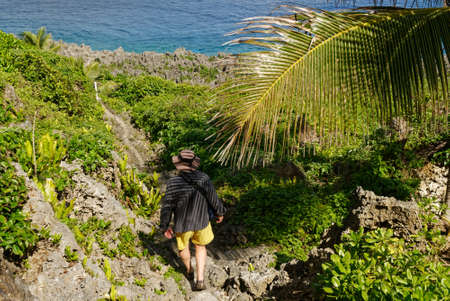 A path leads under a coconut palm to a marker in front of the sea in Niue