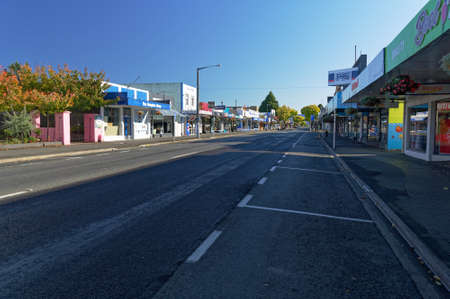 Motueka High Street, South Island, New Zealand, March 28 2020: Empty High Street in Motueka New Zealand as businesses close as a response to Covid 19 pandemic