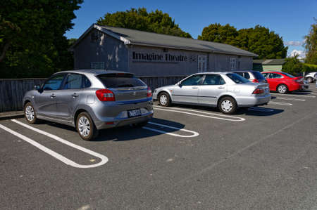 Motueka, South Island, New Zealand, March 30 2020 Cars park leaving an empty space between them to ensure social distancing rules are met during the coronavirus outbreak