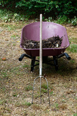 Compost in a red or burgundy wheelbarrow, it has a pitchfork leaning against it